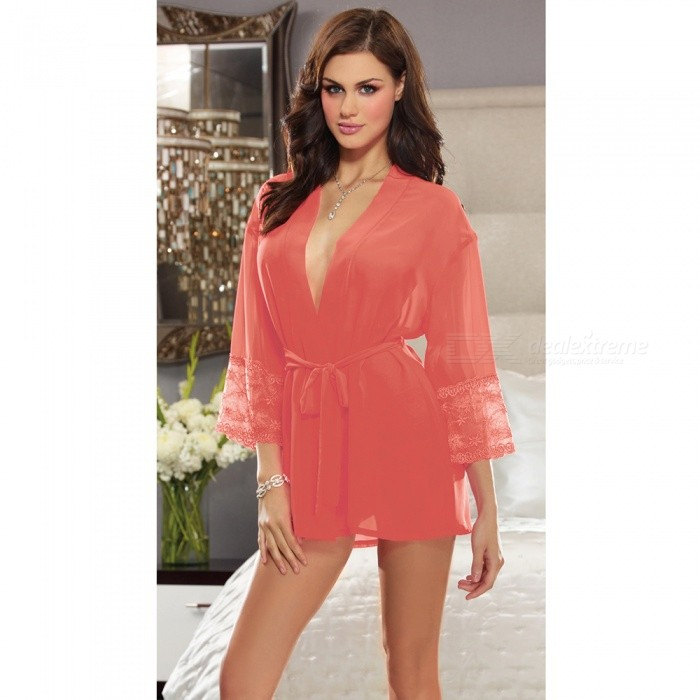 Sexy Lingeries Perspective Lace Bathrobe Nightdress with Underwear for Women - Watermelon RedSexy Lingerie<br>ColorWatermelon RedQuantity1 setShade Of ColorRedMaterialLaceStyleUltra SexyShoulder Width36-40 cmChest Girth78-118 cmTotal Length68 cmPacking List1 x Lace Nightdress1 x Underwear<br>