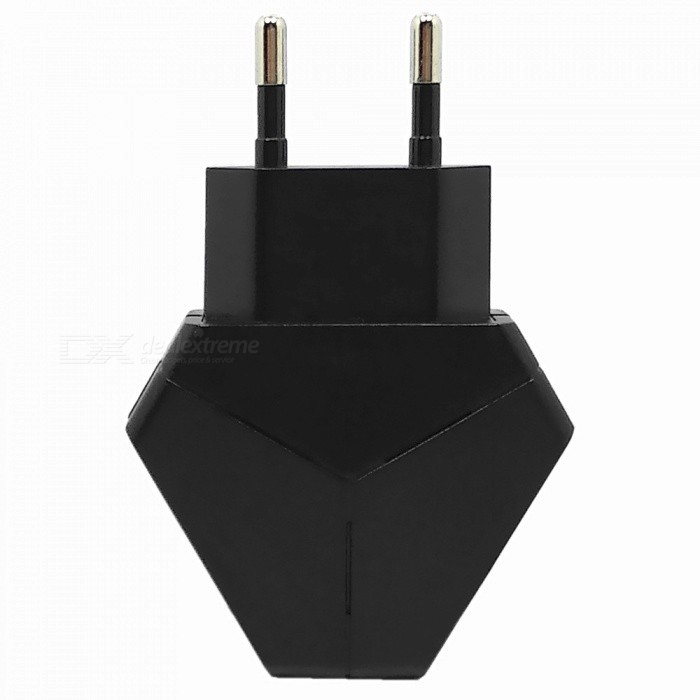 Triangle 5V 2.1A Dual USB EU Plug Charger Power Adapter for IPHONE 7 / 8 / X / SamSung / XiaoMi / HuaWei - BlackAC Chargers<br>ColorBlackModel-MaterialABSQuantity1 pieceCompatible ModelsMobile Phone, Tablet, MP3/4, PSP, etcInput Voltage100-240 VOutput Current2.1 AOutput Power10 WOutput Voltage5 VLED IndicatorYesPacking List1 x Charger<br>