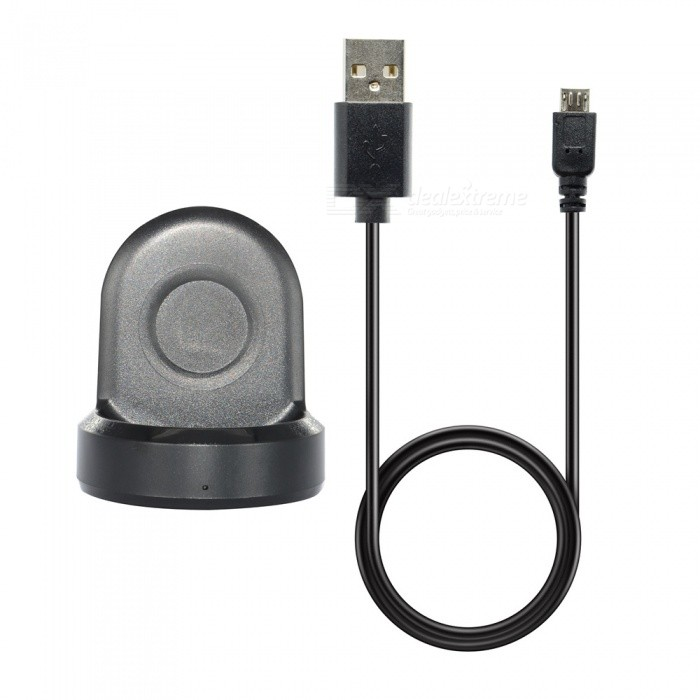 Intelligent Wireless Charger For Sports Watch Samsung Gear Sport - BlackWearable Device Accessories<br>ColorBlackModelx3Quantity1 setMaterialPlastic + aluminum alloyPacking List1 x Wireless Charger1 x Charging Cable<br>