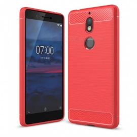 Naxtop Wire Drawing Carbon Fiber Textured TPU Brushed Finish Soft Phone Back Cover Case For Nokia 7 - Red
