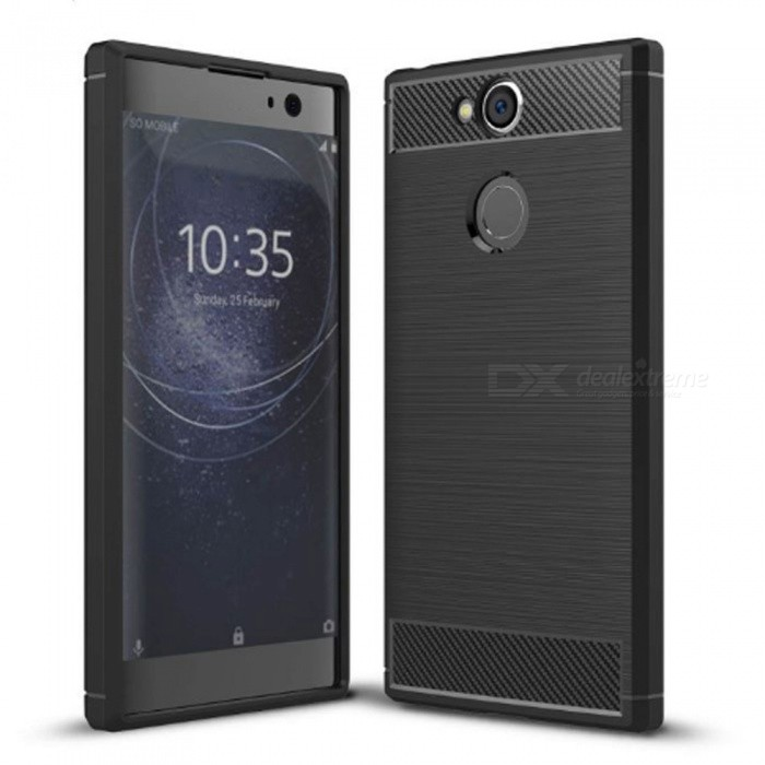Naxtop Wire Drawing Carbon Fiber Textured TPU Brushed Finish Soft Phone Back Cover Case For Sony Xperia XA2 - BlackTPU Cases<br>ColorBlackModelN/AMaterialTPUQuantity1 pieceShade Of ColorBlackCompatible ModelsSony Xperia XA2Packing List1 x Case<br>