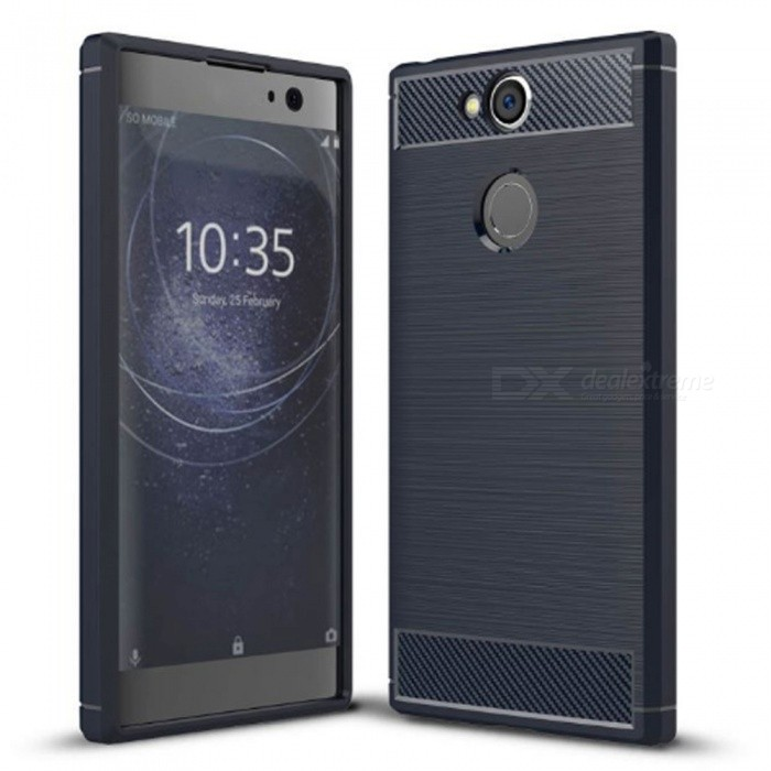 Naxtop Wire Drawing Carbon Fiber Textured TPU Brushed Finish Soft Phone Back Cover Case For Sony Xperia XA2 - BlueTPU Cases<br>ColorBlueModelN/AMaterialTPUQuantity1 pieceShade Of ColorBlueCompatible ModelsSony Xperia XA2Packing List1 x Case<br>