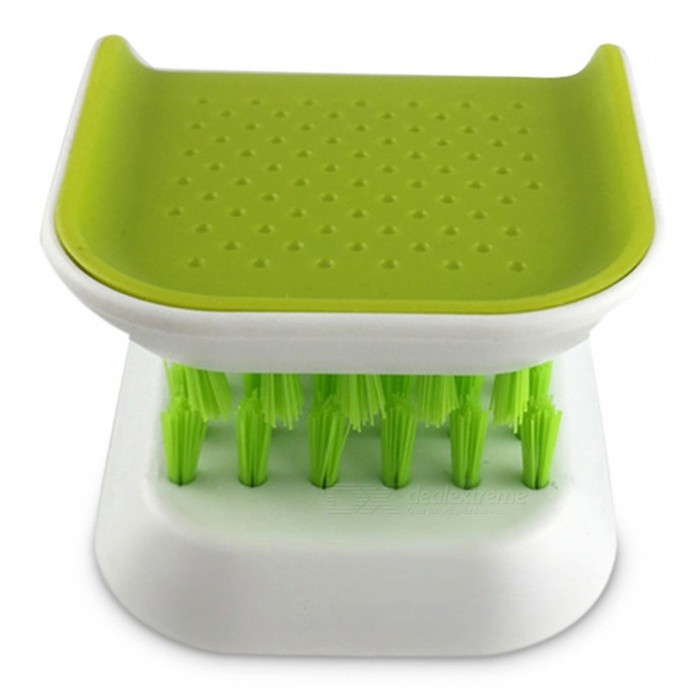 Portable Knife and Fork Cleaning Brush, Kitchen Utensils - GreenKitchen Gadgets<br>ColorGreenModel005MaterialSiliconeQuantity1 piecePacking List1 x Cleaning Brush<br>