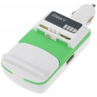 Universal USB Cell Phone Lithium Battery Car Charger - Green + White (DC 12~24V)
