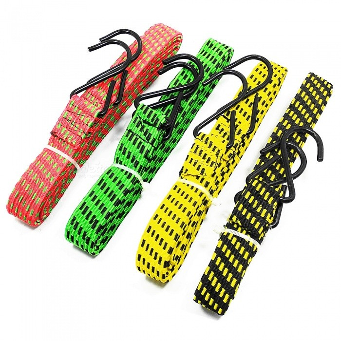 180 x 2.4cm High Elastic Rubber Belt with Iron Hook for Bicycle / Motorcycle / Trailer Pack Up - Random Color