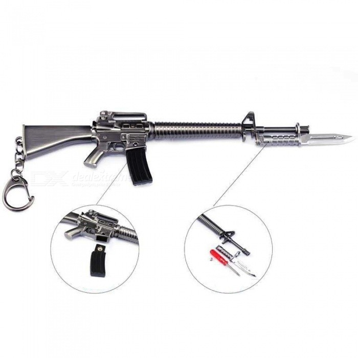Game PlayerUnknowns Battlegrounds (PUGB) 23cm M16A4 Assault Rifle Model Toy with Keychain - Gun ColorFinger Toys<br>ColorGun colorMaterialZinc alloyQuantity1 pieceSuitable Age 5-7 years,8-11 years,12-15 years,Grown upsPacking List1 x Keychain M16A4 Assault Rifle1 x Screwdriver (random color)<br>