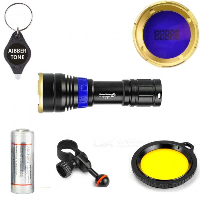ARCHON DL01 4-Mode Diving Light Flaslight + AIBBER TONE LED Key ChainBike Lights<br>BundlesDiving FlashlightModelDL01Quantity1 setMaterialAluminum AlloyEmitter BrandCreeLED TypeXP-EEmitter BINothers,D4Number of Emitters10Color BINBlue,Others,YellowWorking Voltage   4.2-2.8 VPower Supply26650Current- AActual Lumens- lumensRuntime1-3 hoursNumber of Modes4Mode ArrangementHi,Mid,Fast Strobe,Others,Blue lightMode MemoryYesSwitch TypeTwistyLensGlassReflectorAluminum SmoothFlashlight MountingHelmetSwitch LocationSideBeam Range50 cmPacking List1 x Diving flashlight1 x 28650 Battery1 x Charger1 x Yellow filter1 x Clip1 x Key ring1 x AIBBER TONE led key chain<br>