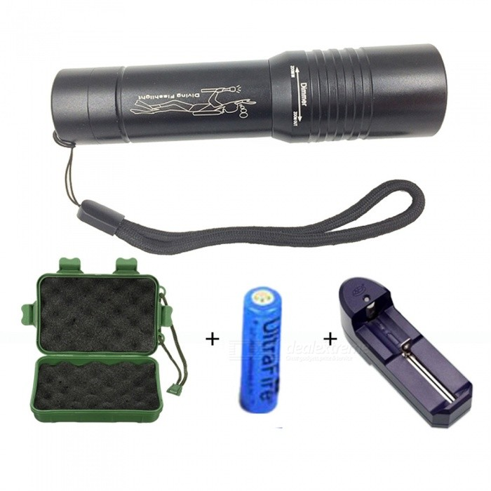 ZHAOYAO Waterproof XML-T6 LED Diving Torch Flashlight with Battey and Charger - Black18650 Flashlights<br>BundlesWith Battery + ChargerBrandOlightModelT6Quantity1 setMaterialAluminum alloyOther FeaturesWaterproofLED TypeOthers,XM-L T6Emitter BINT6Number of Emitters1Color BINWhiteWorking Voltage   3.7-4.2 VPower Supply1 x 18650Current- AOutput(lumens)801-1000Actual Lumens1000 lumensRuntime(hours)2.1-3Runtime- hourNumber of Modes3Mode ArrangementHi,Low,Others,FlashSwitch TypeClicky SwitchSwitch LocationTailcapLensGlassReflectorAluminum SmoothBeam Range1000-2000 cmStrap/ClipStrap includedPacking List1 x Flashlight1 x Battery1 x Charger1 x Gift Box<br>