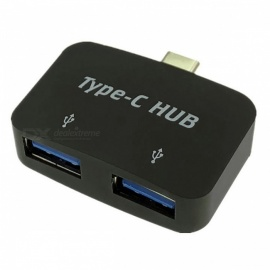 Cwxuan USB 3.1 Type-C to Dual USB 2.0 Hub Converter Adapter - Silver