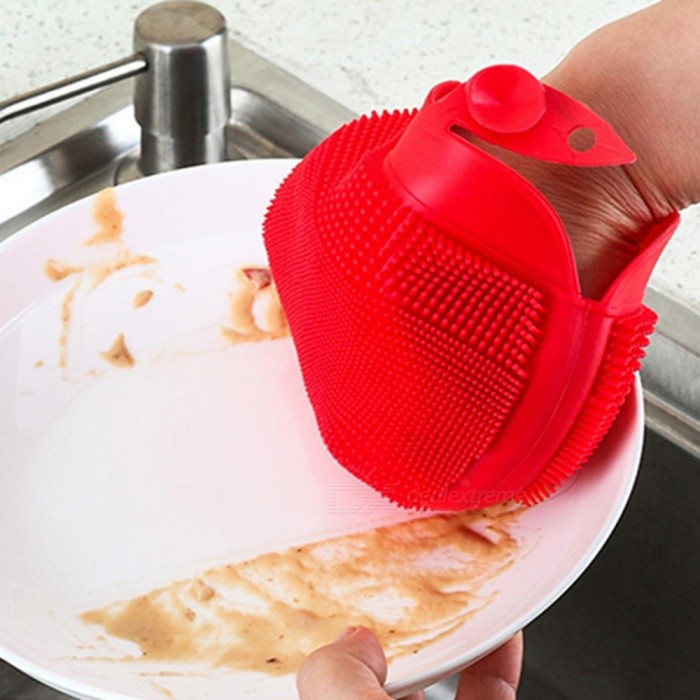 Silicone Washing Brush Anti-skid Gloves for Bowl Dish Cleaning - Red