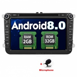 "Funrover 8"" 1024*600 Android 8.0 2G RAM 32GB ROM OEM Car DVD Player w/ GPS Auto Radio RDS for VW Golf Polo Jetta Skoda Seat Cars"