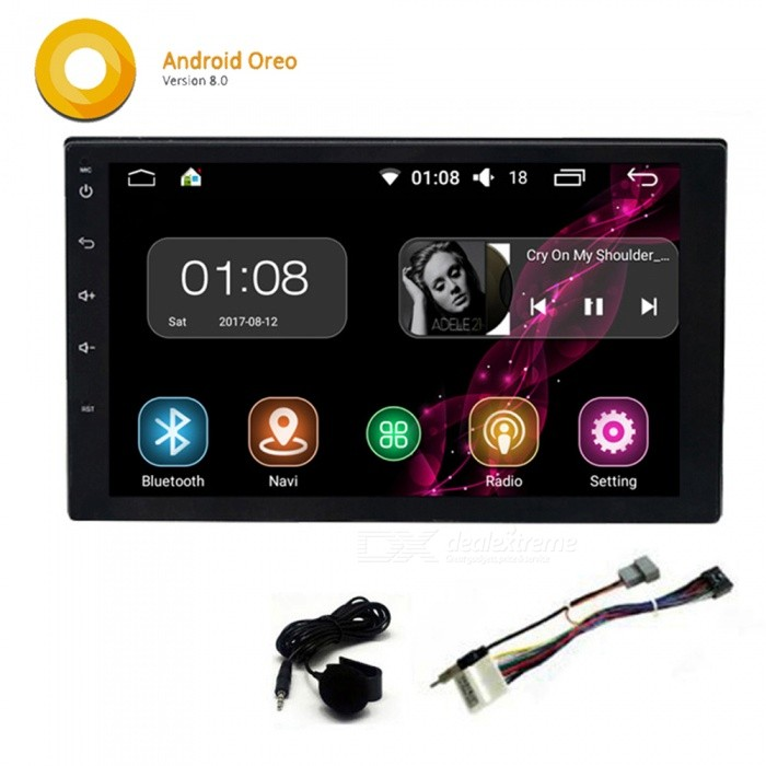 "Funrover Universal Android 8.0 Quad-Core 7"" 2 Din Car Radio Player with GPS Function for Nissan Tiida Qashqai x-trail"