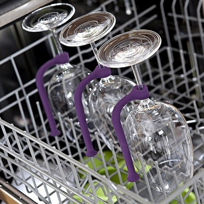 Silicone Home Kitchen Dishwasher Accessories, Wine Cup Fixing Gadgets - Purple (4 PCS)