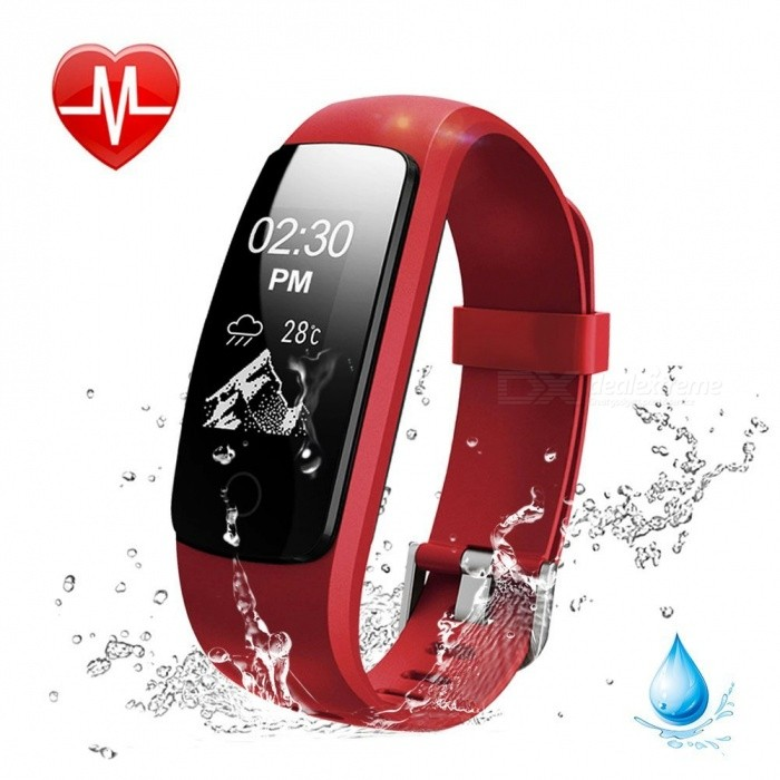 Measy ID107 Plus HR Smart Bracelet with Heart Rate Monitor, Multi Sports Cardio Fitness Guided Breathing Tracker - RedSmart Bracelets<br>ColorRedModelID107 Plus HRQuantity1 setMaterialPC + TPUShade Of ColorRedWater-proofIP67Bluetooth VersionBluetooth V4.0Touch Screen TypeOthers,OLEDCompatible OSit works with most phones inAndroid 4.4 or above/ iOS 7.1 or above, Bluetooth 4.0 or above.Battery Capacity65 mAhBattery TypeLi-polymer batteryStandby Time5~10 daysPacking List1 x Smart Bracelet1 x User Manual<br>