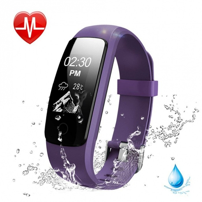 Measy ID107 Plus HR Smart Bracelet with Heart Rate Monitor, Multi Sports Cardio Fitness Guided Breathing Tracker - PurpleSmart Bracelets<br>ColorPurpleModelID107 Plus HRQuantity1 setMaterialPC + TPUShade Of ColorPurpleWater-proofIP67Bluetooth VersionBluetooth V4.0Touch Screen TypeOthers,OLEDCompatible OSit works with most phones inAndroid 4.4 or above/ iOS 7.1 or above, Bluetooth 4.0 or above.Battery Capacity65 mAhBattery TypeLi-polymer batteryStandby Time5~10 daysPacking List1 x Smart Bracelet1 x User Manual<br>