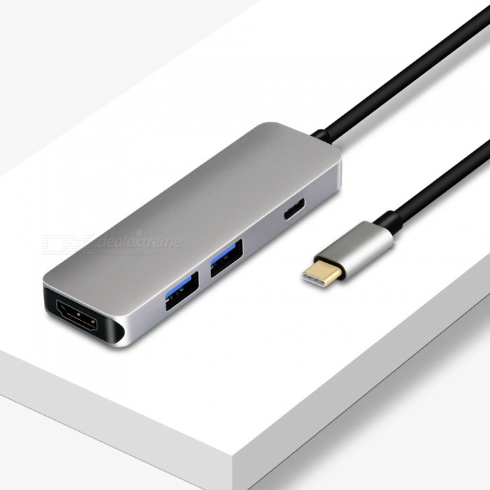Portable USB3.1 Type-C to HDMI Converter HUB for MacBook, Huawei Mobile Phones - GrayAV Adapters And Converters<br>ColorGrayModelOTN-9590MaterialAluminum alloyQuantity1 setConnectorUSB,HDMI,Micro USB,SVGAPower Supply60WPacking List1 x Type-C multi-function converter<br>