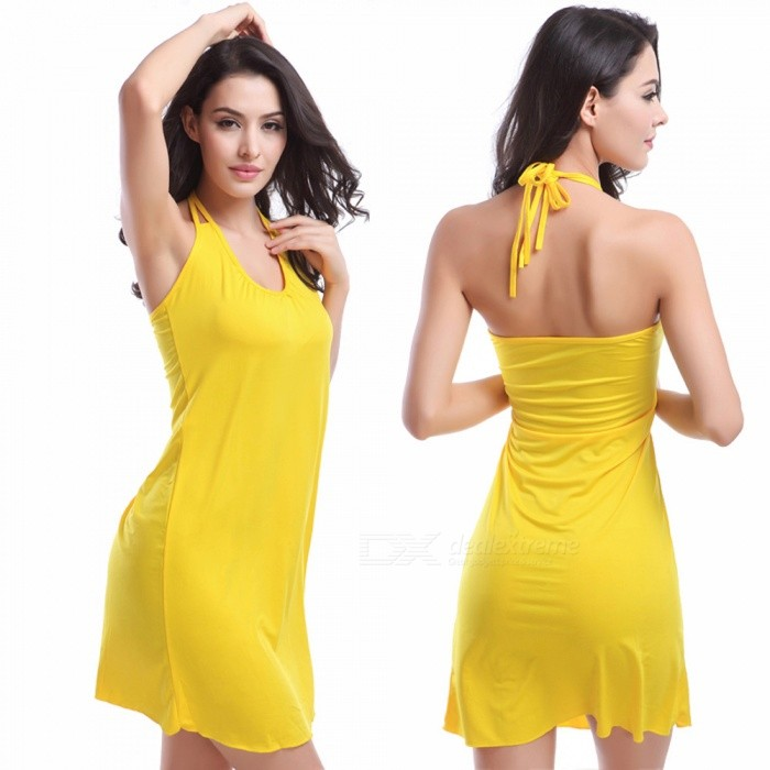 Fanshimite Halterneck Beach Dress Bikini Cover Dress - Yellow (L)ColoryellowSizeLModelSW-VB002Quantity1 pieceMaterialPolyesterTypeHalter beach dressNameBikini jacketPacking List1 x Dress<br>