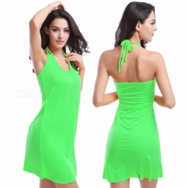 Fanshimite Halterneck Beach Dress Bikini Cover Dress - Green (L)