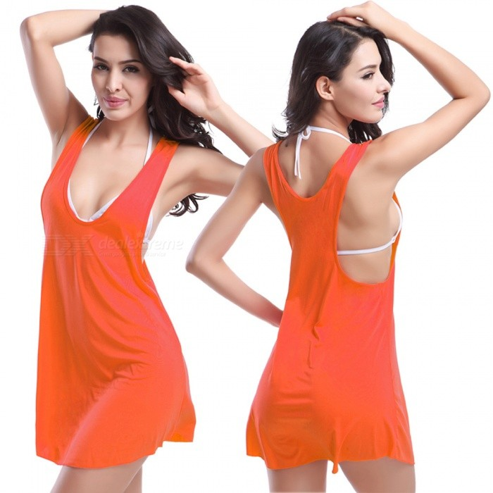 Fanshimite Beach Dress Bikini Cover Dress - OrangeColorOrangeModelSW-VB003Quantity1 pieceMaterialPolyesterTypeHalter beach dressNameBikini jacketPacking List1 x Dress<br>