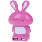 Rabbit Shaped High Speed 4-Port USB Hub with Colorful Light - Carmine + White