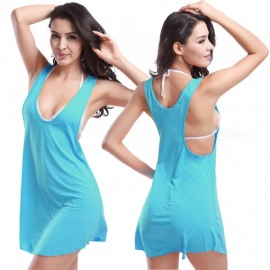 Fanshimite Beach Dress Bikini Cover Dress - Blue (Free Size)