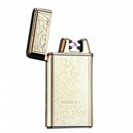 HONEST USB Rechargeable Windproof Coil Slim Lighter with USB Charging Cable and Gift Box - Golden