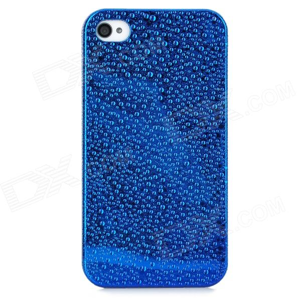 Water Drops Style Protective Plastic Back Case for Iphone 4 - Blue for iphone 7 4 7 inch brushed plastic kickstand shell casing baby blue