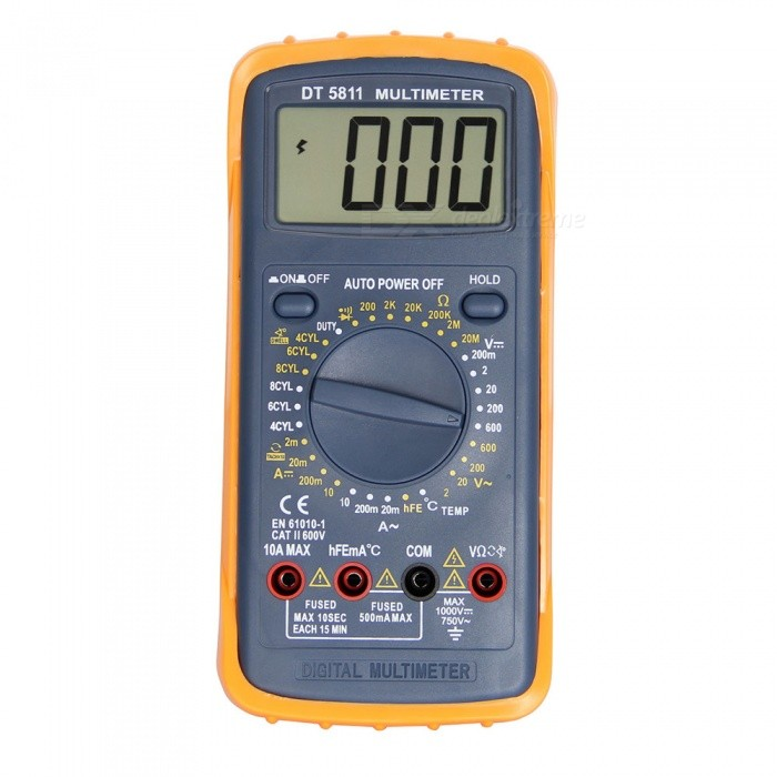 DT-5811 LCD Handheld Digital Multimeter for Home and Car - GrayMultimeters<br>ColorGrayModelDT-5811Quantity1 setMaterialPlasticMax. Display1999DC Voltage2-20-200-600V ±0.8%AC Voltage2-20-200-600V  ±1.0%DC Current20m-200m-10A ±1.8%Resistance200-20k-200k-20M ±1.0%Transistor TestYesTemperature TestYesPowered ByOthers,9V 6F22 battery ( not included )Battery Number1Battery included or notNoPacking List1 x Multimeter2 x Cables2 x Clips1 x Adapter<br>