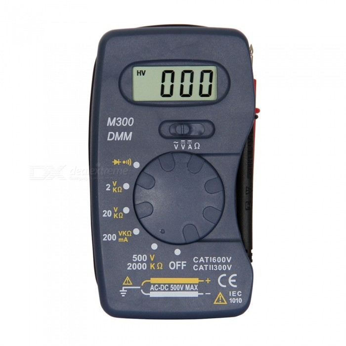 M300 LCD Handheld Digital Multimeter for Home and Car - BlueMultimeters<br>ColorBlueModelM300Quantity1 setMaterialPlasticMax. Display1999DC Voltage2-20-200-500V ±0.5%AC Voltage200-500V ±1.0%DC Current200mA ±2.0%Resistance2k-20k-200k-2000k ±1.0%Powered ByOthers,12V 23A battery (not included)Battery Number1Battery included or notNoPacking List1 x Multimeter1 x Cable (Length 28cm)<br>