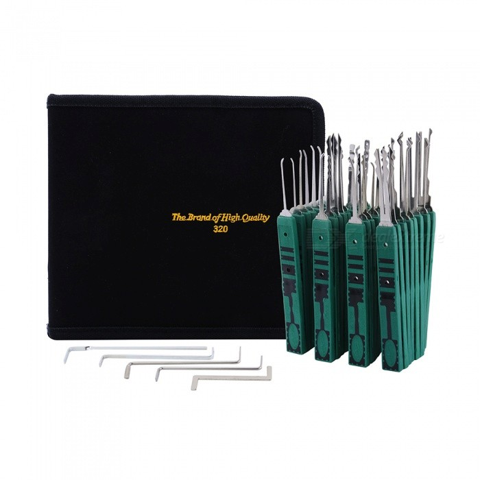 HakkaDeal KL-320 High Quality 32-Piece Hook Lock Picks Set - GreenLocksmith Supplies<br>ColorGreenModelKL-320Quantity1 setMaterialSilicone,Stainless SteelTarget LockLock Pick SetPacking List32 x Lock Opener Tools 4 x Z Type Tools 1 x Tension Wrench1 x Canvas Bag<br>
