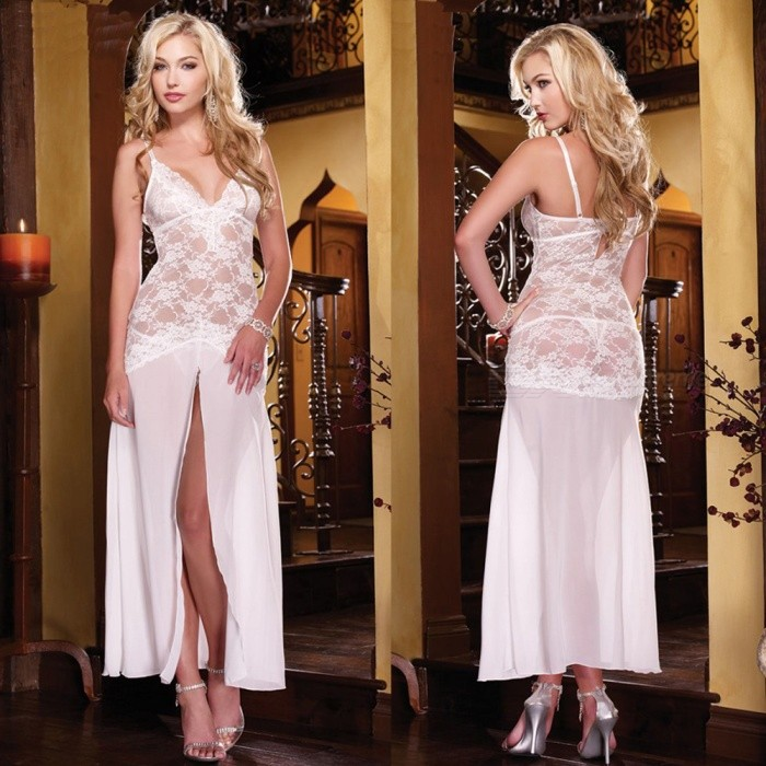 Sexy Deep V Lace Slit Dress Retro Nightdress Long Dress Sexy Lingeries - WhiteSexy Lingerie<br>ColorWhiteQuantity1 setShade Of ColorWhiteMaterialLaceStyleUltra SexyShoulder Width36-40 cmChest Girth78-98 cmTotal Length135 cmPacking List1 x Sexy Dress<br>