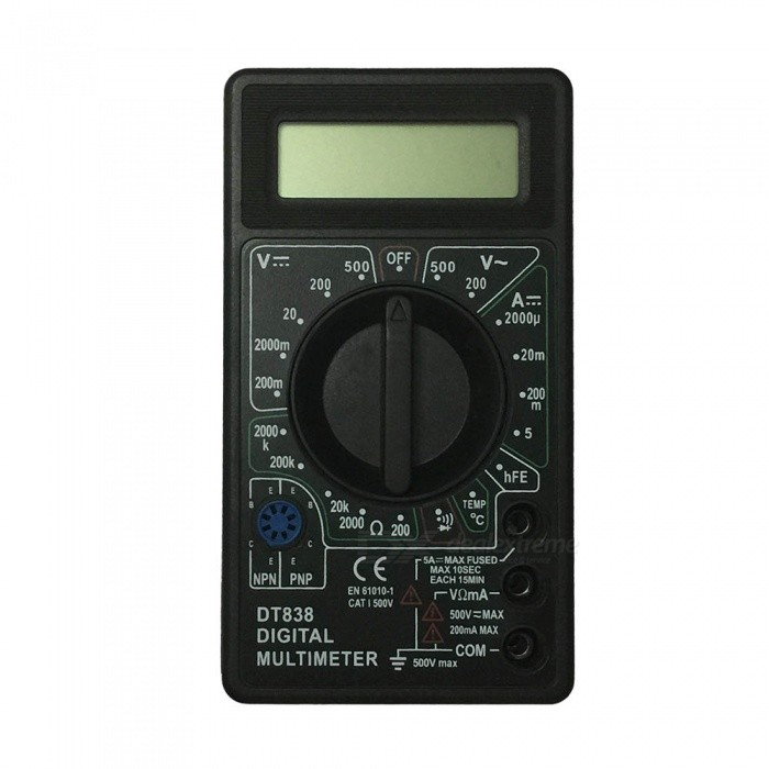 DT838-500V LCD Handheld Digital Multimeter for Home and Car - Black + WhiteMultimeters<br>ColorBlack+WhiteModelDT838-500VQuantity1 setMaterialPlasticMax. Display1999DC Voltage200m-2000m-20-200-500V ±0.5%%AC Voltage200-500V ±1.0%DC Current2000u-20m-200m-5A ±1.8%Resistance200-2000-20K-200K-2000K ±1.0%Temperature TestYesPowered ByOthers,9V 6F22 battery (not included)Battery Number1Battery included or notNoPacking List1 x Multimeter2 x Cables<br>