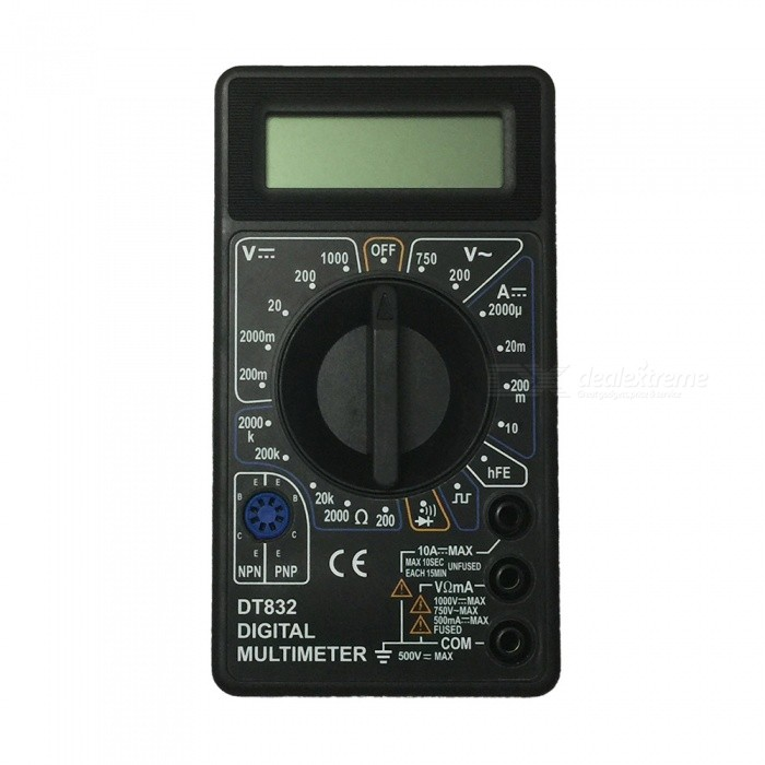 DT832-1000V BK LCD Handheld Digital Multimeter for Home and Car - BlackMultimeters<br>ColorBlackModelDT832Quantity1 setMaterialPlasticMax. Display1999DC Voltage200m-2000m-20-200-1000V ±0.5%AC Voltage200-750V ±1.0%DC Current200u-2000u-20m-200m-10A ±1.8%Resistance200-2000-20K-200K-2000K ±1.0%Powered ByOthers,9V 6F22 battery (not included)Battery Number1Battery included or notNoPacking List1 x Multimeter1 x Cable<br>