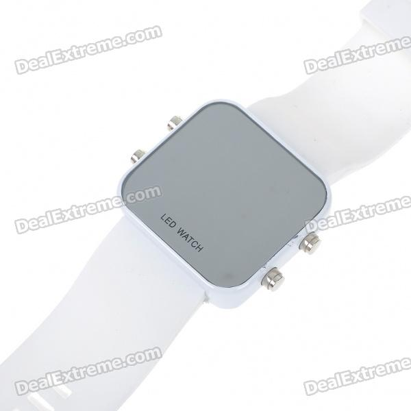Stylish Mirror Display Digital LED Wrist Watch - White (1*BI2025)