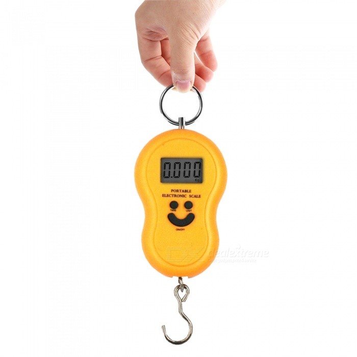 MH-04 50kg / 10g 1.4 Electronic Portable Scale / Hook Scale / Fishing Scale - Yellow (2 x AAA)Digital Scales<br>ColoryellowModelMH-04Quantity1 setMaterialABSTypePortable ScaleScreen Size1.4 inchesMax. Weight50kgMin. Weight10gUnitkg,lb,ozDivision10gAuto Power OffNoPowered ByAAA BatteryBattery Number2Battery included or notYesPacking List1 x Electronics scale2 x AAA batteries1 x Instructions in English and Chinese<br>