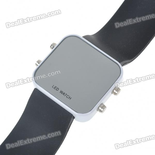 Stylish Mirror Display Digital LED Wrist Watch - Black + White(1*BI2025)