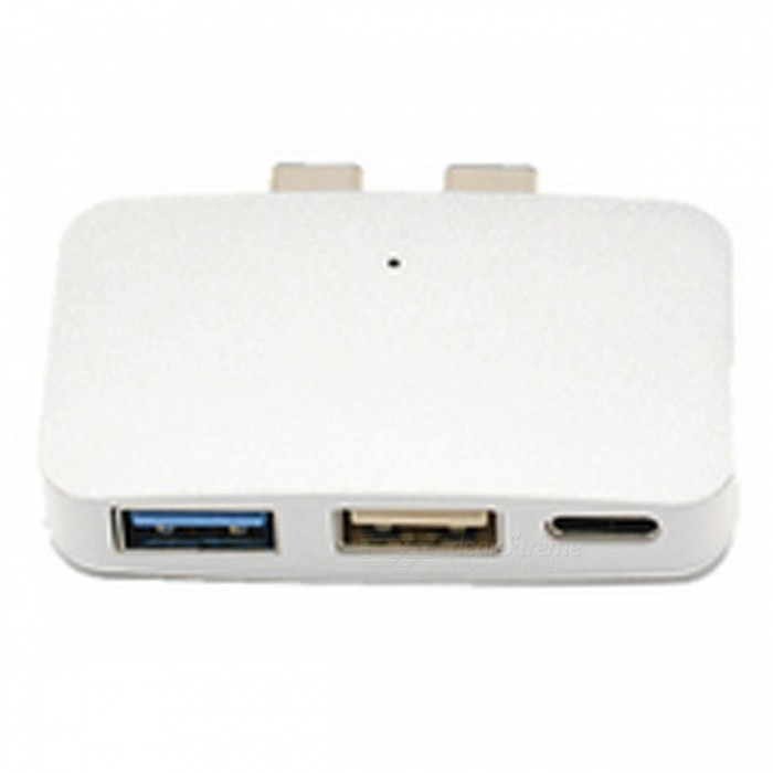 USB-C HUB Adapter with 2 Type-C Ports, USB 3.0 + USB 2.0 Port for New MacBook Pro and More - White