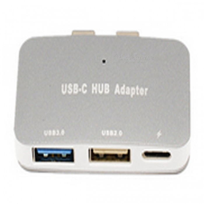 USB-C HUB Adapter with 2 Type-C Ports, USB 3.0 + USB 2.0 Port for New MacBook Pro and More - Silver