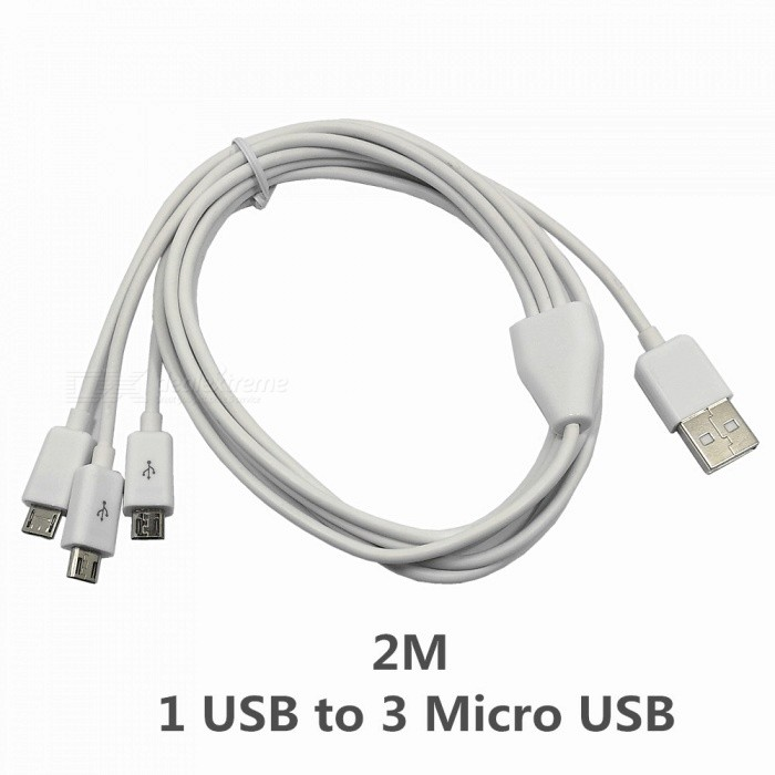 1 to 3 Micro USB charging Cable for Samsung / Xiaomi / THC / Huawei - White / 200cmCables<br>ColorWhiteLength200cmMaterialPVC + Copper CoreQuantity1 pieceCompatible ModelsMicro USB interfaces phoneConnectorMicro USB / USB2.0Transmission RateUSB2.0Split adapter number1 to 3Packing List1 x Cable<br>