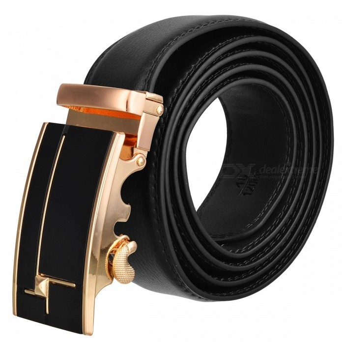 Stylish Leather Belt with Automatic Buckle for Men - Golden + BlackBelts and Buckles<br>ColorBlackQuantity1 setShade Of ColorBlackMaterialLeatherGenderMenSuitable forAdultsBelt Length120 cmBelt Width3.5 cmPacking List1 x Belt<br>