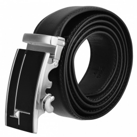 Stylish Leather Belt for Men - Silver + Black