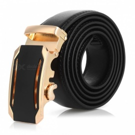 Cool Stylish Leather Belt with Automatic Buckle for Men - Golden + Black