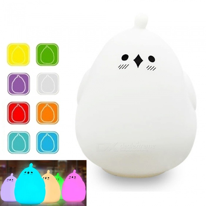 YouOKLight Colorful Sound Control Silicone Animal LED Night Light USB Rechargeable Touch Sensor 3 Modes for Baby Children GiftLED Nightlights<br>ColorWhiteModelYK2303MaterialABS, SiliconeQuantity1 piecePower2WRated VoltageOthers,DC 5 VColor BINMulti-colorEmitter TypeLEDTotal Emitters8DimmableYesBeam Angle360 °Installation TypeOthersPacking List1 x LED Night Lamp<br>