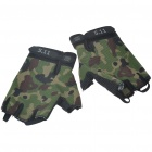 Anti-Slip Half-Finger Canvas Gloves - Camouflage + Black (Pair)