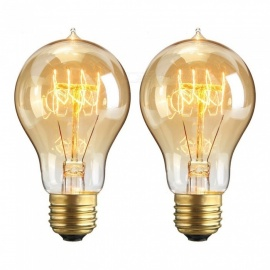 YouOKLight YK0820 E27 Vintage Style 40W A19 Filament Edison Light Bulb for Home Light Fixtures Decoration (2 PCS)