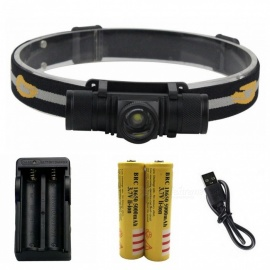 ZHAOYAO Waterproof L2 6-Mode LED Head Lamp, Zooming Rechargeable Headlight with USB Cable + 18650 Batteries + EU Charger