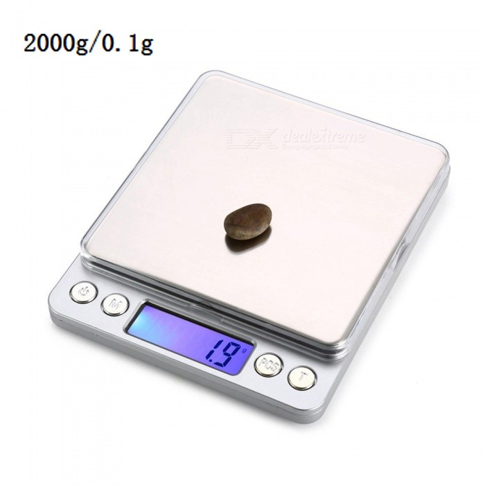 MH-808 2000g / 0.1g 1.7 Precision Electronic Gold Jewelry Kitchen Scale (2 x AAA)Digital Scales<br>Application2000g/0.1gModelMH-808Quantity1 setMaterialStainless steel + aluminum alloyTypeJewelry Scale,Kitchen ScaleScreen Size1.7inchesMax. Weight2000gMin. Weight0.1gUnitg,ct,oz,dwt,gnDivision0.1gAuto Power OffNoPowered ByAAA BatteryBattery Number2Battery included or notYesPacking List1 x Electronic scale2 x AAA batteries1 x Instruction2 x Trays<br>