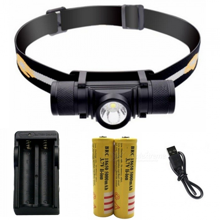 ZHAOYAO Waterproof L2 6-Mode LED Rechargeable Head Lamp with USB Charging Line + 18650 Battery + EU ChargerHeadlamps<br>ColorBlackQuantity1 setMaterialAluminum alloyEmitter BrandCreeLED TypeXM-L2Emitter BINothers,L2Color BINWhiteNumber of Emitters1Working Voltage   3.7 VPower Supply18650Current0.8 AActual Lumens50-1500 lumensRuntimeDepends on the battery quantities hourNumber of Modes6Mode ArrangementHi,Low,Slow Strobe,Fast Strobe,SOS,Others,Stepless dimmingMode MemoryNoSwitch TypeForward clickySwitch LocationSideLensGlassReflectorAluminum TexturedBand Length20 cmCompatible Circumference40-80cmBeam Range50-150 mPacking List1 x Head lamp1 x USB charging line2 x 18650 batteries1 x EU charger<br>