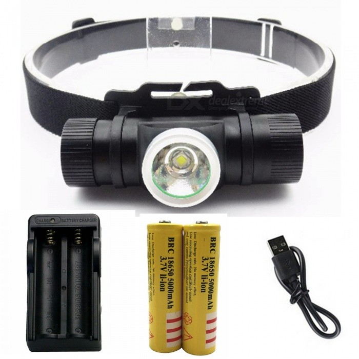 ZHAOYAO Waterproof L2 6-Mode LED Rechargeable Head Lamp with USB Charging Line + 18650 Battery + EU ChargerHeadlamps<br>ColorBlackQuantity1 setMaterialAluminum alloyEmitter BrandCreeLED TypeXM-L2Emitter BINothers,L2Color BINWhiteNumber of Emitters1Working Voltage   3.7 VPower Supply18650Current0.8 AActual Lumens100-1500 lumensRuntimeDepends on the battery quantities hourNumber of Modes6Mode ArrangementHi,Low,Slow Strobe,Fast Strobe,SOS,Others,Stepless dimmingMode MemoryNoSwitch TypeForward clickySwitch LocationSideLensGlassReflectorAluminum TexturedBand Length20 cmCompatible Circumference40-80cmBeam Range50-150 mPacking List1 x Head lamp1 x USB charging line1 x EU charger 2 x18650 Lithium batteries<br>