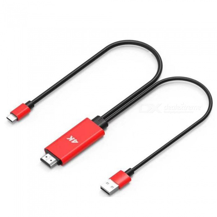 5V 1A USB Type-C, USB-A Male to HDMI Male Conversion Cable - RedAV Adapters And Converters<br>ColorRedMaterialPVCQuantity1 pieceConnectorUSB,HDMI,Others,USB-CPower AdapterOthersPower Supply5V1APacking List1 x HDMI conversion line<br>